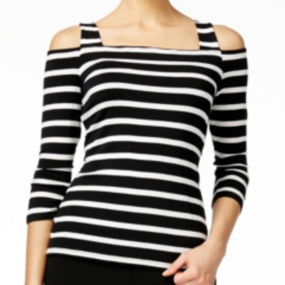 9430a2cb6da82d INC Cold Shoulder Top Black White Striped XXL